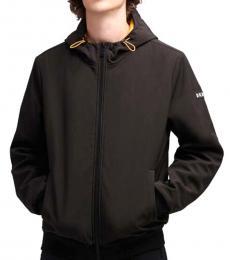 Black Soft-Shell Contrast Hooded Jacket