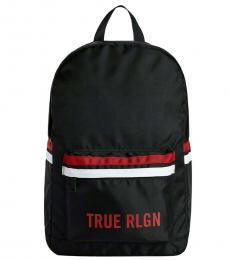 True Religion Black Logo Large Backpack