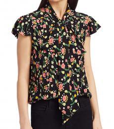 Black Floral Silk Tie Neck Shirt