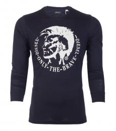 Diesel Dark Blue Graphic full Sleeves T-Shirt