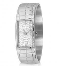 Silver Diamond Dial Watch