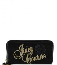 Juicy Couture Black Rose Zip Around Wallet