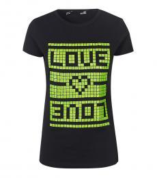 Love Moschino Black Square Pattern Logo T-Shirt