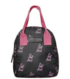 Black Insulated Print Lunch Small Tote