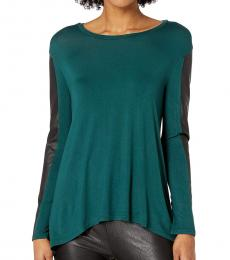 BCBGMaxazria Teal Long Sleeve Knit Top
