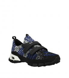 Black Blue Strap Closure Sneakers