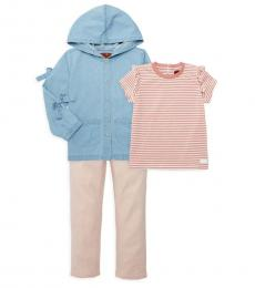 7 For All Mankind 3 Piece Jacket/T-Shirt/Pants Set (Baby Girls)