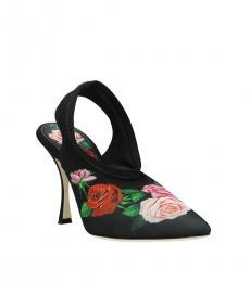Black Multi Floral Print Heels