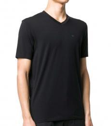 Black Cotton V-Neck T-Shirt