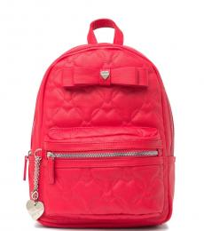 Betsey Johnson Red Quilted Heart Medium Backpack