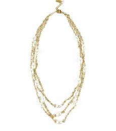 Gold Bead 3-Row Necklace