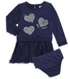 Juicy Couture Baby Girls Navy Metallic Heart Dress
