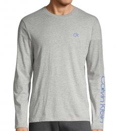 Calvin Klein Light Grey Long-Sleeve Logo Sweatshirt