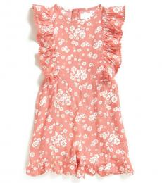 BCBGirls Girls Pink Floral Ruffle Romper