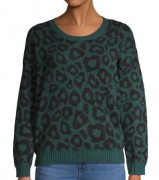 Green Printed Cotton-Blend Sweater