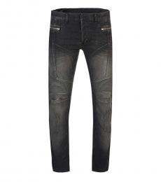 Balmain Black Zipper Logo Jeans