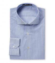 Roberto Cavalli Blue Multi Stripe Dress Shirt