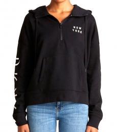 DKNY Black Flocked Logo Hoodie