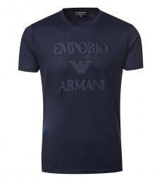 Dark Blue Logo Print T-Shirt