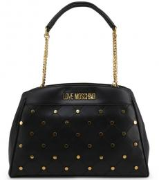 Love Moschino Black Criss-Cross Stitch Large Tote