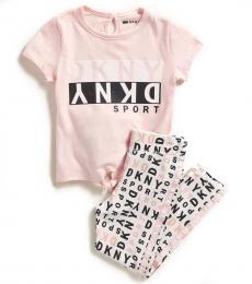 DKNY 2 Piece T-shirt/Leggings Set (Little Girls)