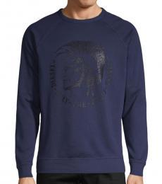 Peacoat Blue Graphic Cotton Sweatshirt