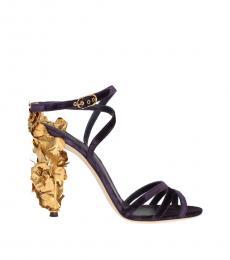 Dolce & Gabbana Purple Gold Leaf Heels