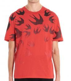 McQ Alexander McQueen Red Swallow degrad� t-shirt