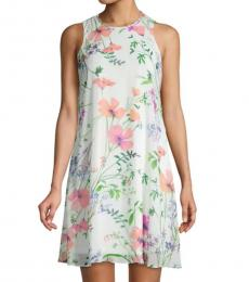 White Multi Floral-Print Chiffon Mini Dress