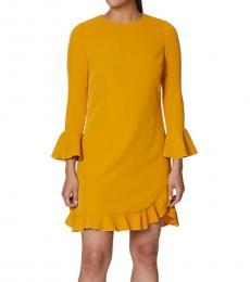 Betsey Johnson Yellow High Neck Midi Dress