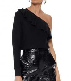Black Stacey Ruffle One Shoulder