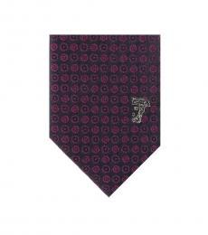 Versace Violet Logo Embroidery Tie