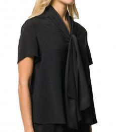 Black  Silk Blend Tie Neck Blouse