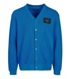 Fred Perry Turquoise Logo Patch Cardigan