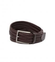 Hugo Boss Dark Brown Seymo Woven Leather Belt