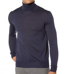 Canali Dark Blue Turtleneck Wool Sweater