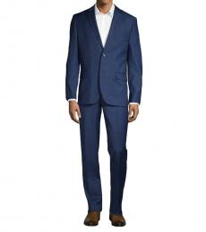 Ben Sherman Navy Blue Slim Fit Check Wool Suit