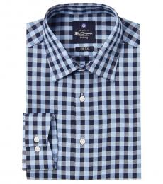 Ben Sherman Dark Blue Check Tailored Dress Shirt