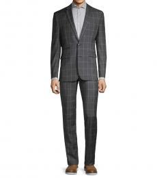 Vince Camuto Dark Grey Slim-Fit Windowpane Wool Suit
