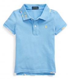 Ralph Lauren Little Girls Bristol Blue Stitched Stretch Mesh Polo