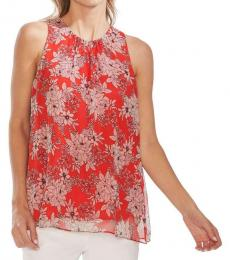 Crimson Red Floral Print Tank Blouse