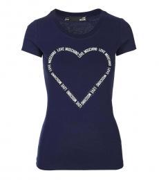 Love Moschino Dark Blue Classic Logo Tee