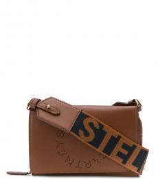 Stella McCartney Brown Logo Strap Mini Crossbody