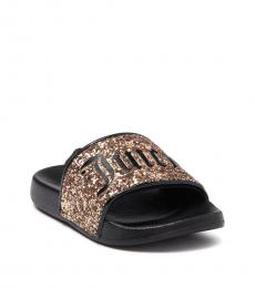 Juicy Couture Baby Girls Black Gold Hollywood Slides
