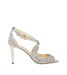 Jimmy Choo Platinum Peep Toe Glitter Heels