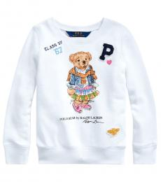 Ralph Lauren Little Girls White Madras Bear Terry Pullover