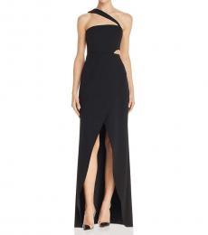 BCBGMaxazria Black One Shoulder Evening Gown