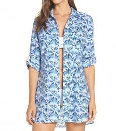 Tommy Bahama Blue Tie Dye Boyfriend Shirt Cover-Up