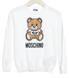 Moschino Little Girls White Teddy Sweatshirt
