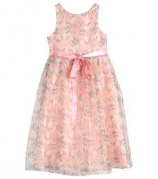 Badgley Mischka Girls Pink Floral-Print Dress